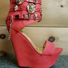 Mona Mia Romina Platform Wedge Ankle Shoes Lion Medallions Chain Powder Orange