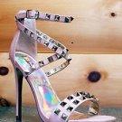 "Luichiny Humor Riot Nude Leatherette Gold Stud Cross Strap Sandal Shoe 5"" Heel"