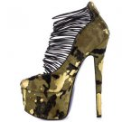 Zigi NYs London Trash Ceres Camo Green Gold Pony Platform High Heel Shoe