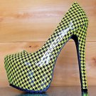 Privileged Ratchet Neon Yellow Houndstooth Patent Platform Pump High Heel Shoe