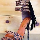 "Privileged Probe Leopard Fringe Heel Multiple Strap Open Toe 4.75""  High  Shoe"