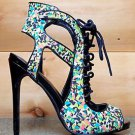 "Privileged Rori Neon Multi Color Confetti Print Open Toe Sandal Shoe 5"" Heel 6 7"