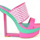 "Shoe Republic Kee Pink Teal Weave Design Slip On Modern 6"" Wedge Heel 7-10"