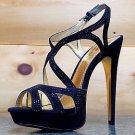 "Luichiny Blue Spring - Black 5.5"" Heel Platform Slingback Shoe Rhinestone Detail"
