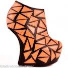 "Privileged Clinic Neon Orange 7"" Heel less Wedge Booty Geo Patchwork Size 7 Shoe"
