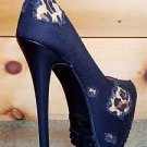 Alba Yang Distressed Black Denim / Leopard Pump High Heel Shoe Sizes 7 8.5 9 10
