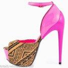 "Privileged Hot  Night Tan Pink Tribal Sleek 6.5"" Heel Platform Shoe 7-11"