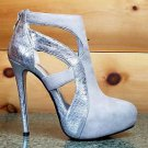 Luichiny Where Its At Silver Gray Ice Snake Platform Cut Out Boot Shoe