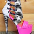 Privileged Xpress Neon Pink Black & White Print Stiletto Heel Platform Shoe