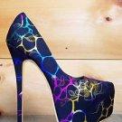 Alba Yang 49 Rainbow Metallic Floral Stone Black Fabric Platform Pump Shoe 7 & 9