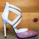 "Julia Crossed Strap Closed Back Zipper Detail Shoe 4.5"" Heel 6-10 White Lilac"