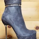 "Luichiny Very Nice Gray / Snake Platform 5.5"" Silver Slim Heel Ankle Boot"
