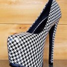 Privileged Ratchet White Hounds-tooth Patent Platform Pump High Heel Shoe 7-9