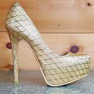 Alba Winni Gold Metallic Thread Diamond Design Platform Pump Shoe Gold Sole 7-11