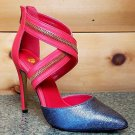 "Julia Crossed Strap Closed Back Zipper Detail Shoe 4.5"" Heel 6-10 Red Pewter"