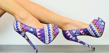 "Athena Elle 3 Multi Blue Multi Print Open Toe Platform Pump Shoe 5.5"" Heel"