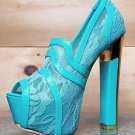 Alba Lusty Sara Lace Inlay Pump Peep Toe Platform Shoe Gold Sole Chunky Heel