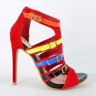 "Alba Doris Red & Multiple Color Strap Open Toe 4.5"" Stiletto Heel Shoe 7-11"