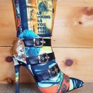 RK Rio Girl Colorful Tropical Mag Print Mid Calf High Boot Buckle Detail