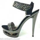 Fascinate 618 Pewter Rhinestone Black Suede Dual Platform Shoe Size 9