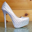 Alba Winni Silver Metallic Thread Diamond Design Platform Pump Shoe 5.5 -11
