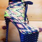 Red Kiss Lamb Neon Yellow Tribal Pattern Spiked Platform Heel Ankle Boot 6 & 6.5