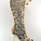 "Fantasia 2020 Flower Cutout Blush Suede Rhinestone Knee Boot 6"" Stiletto 11 & 12"