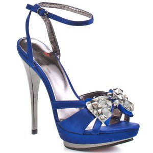 "Luichiny Light Ning - Blue Satin Pewter Gems & 5"" Heel Platform Ankle Strap Shoe"