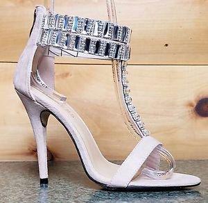 Baker Zigi Jayde Nude Suede Rhinestone T Strap Open Toe  Stiletto Sandal Shoe