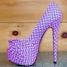 Zizi Pink Neon Open Toe Zig Zag Platform Pump Shoe Pink Color Sole Size 5.5