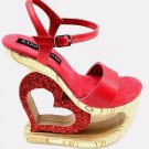 """USA Crafted Genuine Leather Carved Wooden Red Glitter Heart 4 or 7.5"""" Heel Lift"""