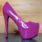 Privileged Ratchet Neon Pink Houndstooth Patent Platform Pump Stiletto Heel Shoe