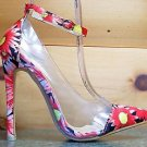 Red Kiss Spring Fling Shoe Orange Floral Pump Clear Lucite & Ankle Strap 6-11