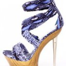 Davina Fabric Purple Snake Ankle Cuff Wood Print Platform Slim Heel 7-10