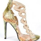 "Athena Aleesha Nude Green 4"" Heel Lucite Floating Vamp Open Toe Shoe 6.5-11"