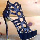 Alba Alice Circle Cut Out Cage Style Platform Shoe Gold Trim Detail 6-10 Black