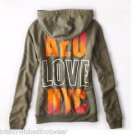 AMERICAN EAGLE AE Olive Army Green NYC Orange Back Graphic Hoodie Sweatshirt