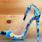 Red Kiss Spring Fling Shoe Blue Floral Pump With Lucite Trim & Ankle Strap 6-11