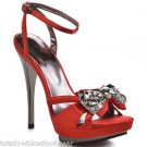 "Luichiny Light Ning - Red Satin Pewter Gems & 5"" Heel Platform Ankle Strap Shoe"