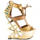Privileged Novice Tan Gold Hologram Spiked Geo Cut Out Heel Less Wedge Size 7.5