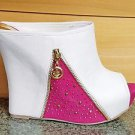 "Alba Bella-3 White Pink Slip On Slide 5.5"" High Heel Wedge Shoe Peep Toe Size 7"