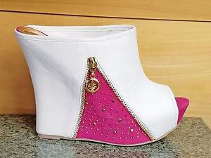 "Alba Bella-3 White Pink Slip On Slide 5.5"" High Heel Wedge Shoe Peep Toe Size 7"