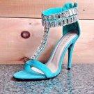 Baker Zigi Jayde Green Suede Rhinestone T Strap Open Toe  Stiletto Sandal Shoe