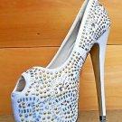 "RK Celine White FX Suede Rhinestone & Studs Platform Peep Toe Pump Shoes 6"" Heel"