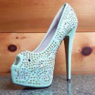 Kiss Kouture Celine Mint Green Rhinestone Studs Platform Peep Toe Pump Heels
