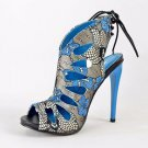 Alba Aviva Blue Multi Floral Print Open Toe Slingback Tear Drop Stiletto Heel