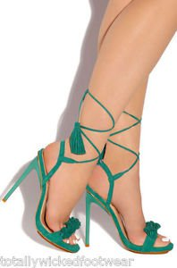 Privileged Miami Teal Green Open Toe Fringe Toe Tassel Wrap Sandal Shoe 7-11