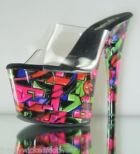 "Motif 701 GF Neon Abstract Print Platform Clear Upper 7"" Heel Shoe 10 11 12"