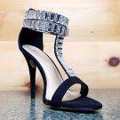 Baker Zigi Jayde Black Suede Rhinestone T Strap Open Toe  Stiletto Sandal Shoe