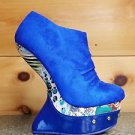 Keona Royal Blue Booty Abstract Pattern Heel Less Wedge Shoe Size 7
